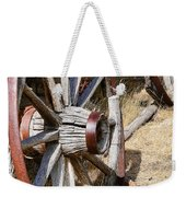Old Wagon Wheels From Montana Weekender Tote Bag by Jennie Marie Schell