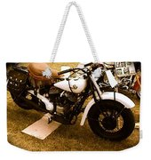 Old White Motorcycle Weekender Tote Bag