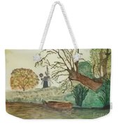 Old Willow And Boat Weekender Tote Bag