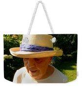 Old Woman Wearing Straw Hat Weekender Tote Bag