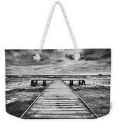 Old Wooden Jetty During Storm On The Sea Weekender Tote Bag