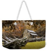 Oliver's Log Cabin During Fall In The Great Smoky Mountains Weekender Tote Bag