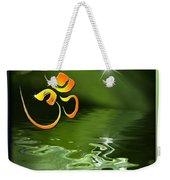 Om On Green With Dew Drop Weekender Tote Bag