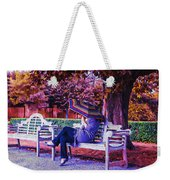 On A Bench Under An Umbrella In Autumn Weekender Tote Bag
