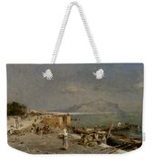 On The Waterfront At Palermo Weekender Tote Bag by Franz Richard Unterberger