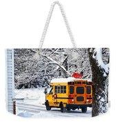 On The Way To School In Winter Weekender Tote Bag