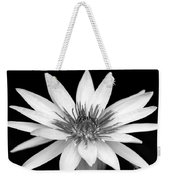 One Black And White Water Lily Weekender Tote Bag