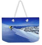 One Man Skiing In Powder High Weekender Tote Bag