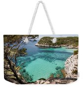 One Step To Paradise - Cala Mitjana Beach In Menorca Is A Turquoise A Cristaline Water Paradise Weekender Tote Bag