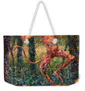 Only A Crazy Monkey Dances On A Tiger's Head Weekender Tote Bag by James W Johnson