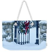 Open Gate In Snow With Wreath Weekender Tote Bag