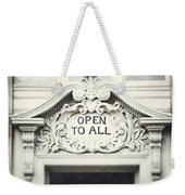 Open To All Weekender Tote Bag by Lisa Russo