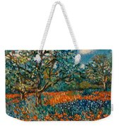 Orange And Blue Flower Field Weekender Tote Bag