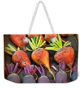 Orange And Purple Beet Vegetables In Wood Box Art Prints Weekender Tote Bag