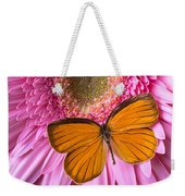 Orange Butterfly On Pink Daisy Weekender Tote Bag