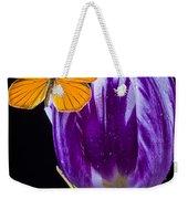 Orange Butterfly On Purple Tulip Weekender Tote Bag