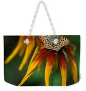 Orange Butterfly With Black Dots Sitting Onthe Red And Yellow Long Petaled Flowers Weekender Tote Bag
