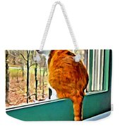 Orange Cat In Window Weekender Tote Bag