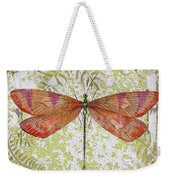 Orange Dragonfly On Vintage Tin Weekender Tote Bag