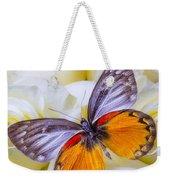 Orange Gray Butterfly Weekender Tote Bag
