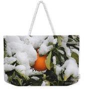 Orange In Snow Weekender Tote Bag