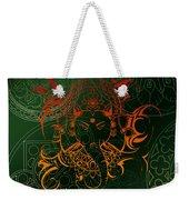 orange Lord Ganesha on green Mandala Weekender Tote Bag