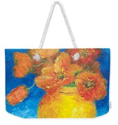 Orange Poppies In Yellow Vase Weekender Tote Bag