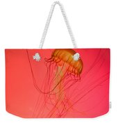 Orange Swimming Jellyfish Weekender Tote Bag