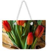 Orange Tulips In Copper Pitcher Weekender Tote Bag