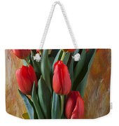 Orange Tulips In Yellow Pitcher Weekender Tote Bag by Garry Gay