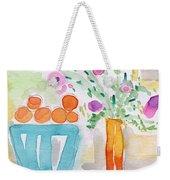 Oranges In Blue Bowl- Watercolor Painting Weekender Tote Bag
