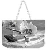 Orchids And Pebbles On The Sand In Black And White Weekender Tote Bag