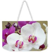 Orchids Floral Art Prints White Pink Orchid Flowers Weekender Tote Bag