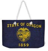 Oregon State Flag Art On Worn Canvas Weekender Tote Bag