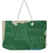 Oregon Word Art State Map On Canvas Weekender Tote Bag