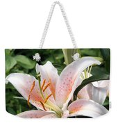 Oriental Hybrid Lily In White Peach And Pink  Weekender Tote Bag
