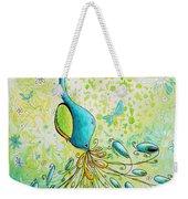 Original Acrylic Bird Floral Painting Peacock Glory By Megan Duncanson Weekender Tote Bag