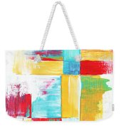Original Bold Colorful Abstract Painting Patchwork By Madart Weekender Tote Bag by Megan Duncanson