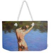 Original Classic Oil Painting Man Body Art-male Nude Standing In The Pool #16-2-4-05 Weekender Tote Bag