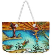Original Coastal Surfing Whimsical Fun Painting Tropical Serenity By Madart Weekender Tote Bag