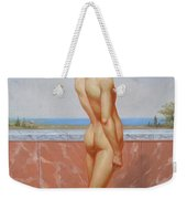 Original Oil Painting Man Body Art Male Nude On Canvas#16-2-5-13 Weekender Tote Bag