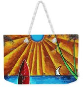 Original Tropical Surfing Whimsical Fun Painting Waiting For The Surf By Madart Weekender Tote Bag