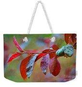 Ornamental Plum Tree Leaves With Raindrops - Digital Paint Weekender Tote Bag