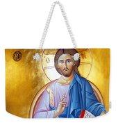 Orthodox Icon Of Jesus In Blue Weekender Tote Bag
