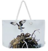 Osprey In Flight Over Nest Weekender Tote Bag