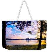 Osprey Leaving Perch Sundown Lake Weekender Tote Bag