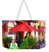 Outdoor Cafe With Red Umbrellas Weekender Tote Bag