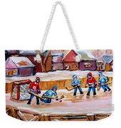 Outdoor Rink Hockey Game In The Village Hockey Art Canadian Landscape Scenes Carole Spandau Weekender Tote Bag