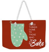 Oven Mitt With Red Weekender Tote Bag by Nancy Ingersoll