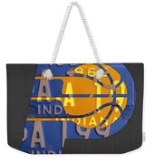 Pacers Basketball Team Logo Vintage Recycled Indiana License Plate Art Weekender Tote Bag